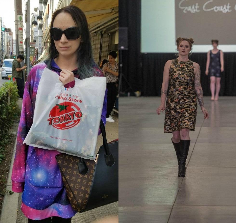 LeeAnn Dussault features a koi fish fabric from Nippori Textile town in Japan during the 12th annual Atlantic Fashion Week in 2018 in Halifax, Nova Scotia.