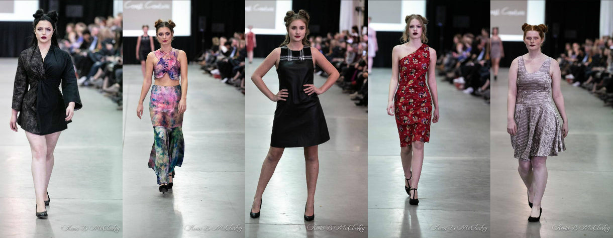 LeeAnn Dussault of East Coast Couture presents her latest fashion line on the runway of Atlantic Fashion Week in Halifax, Nova Scotia, 2018.