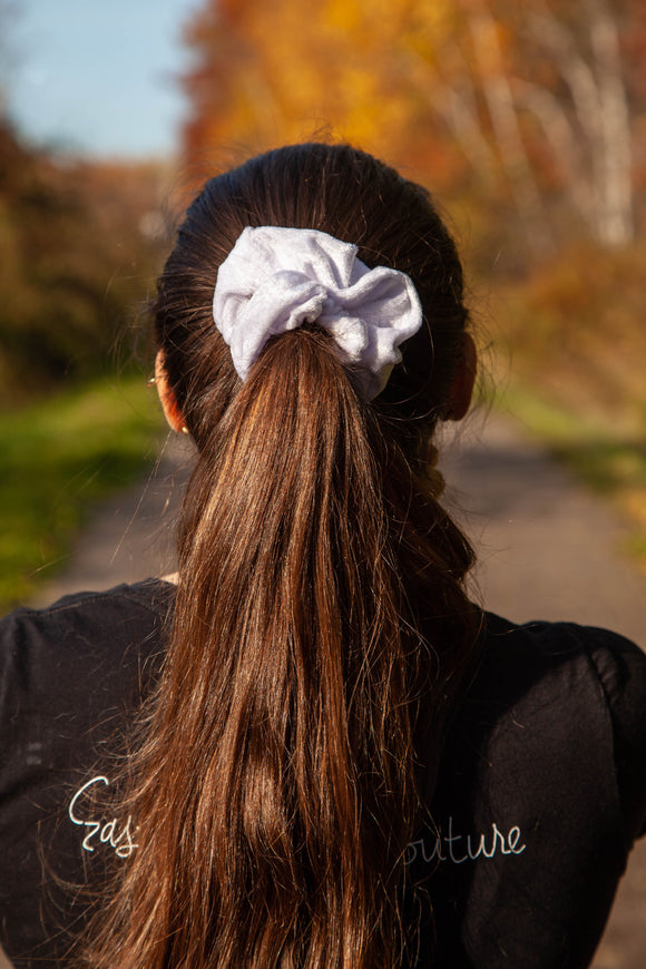 Velvet Snow Scrunchie