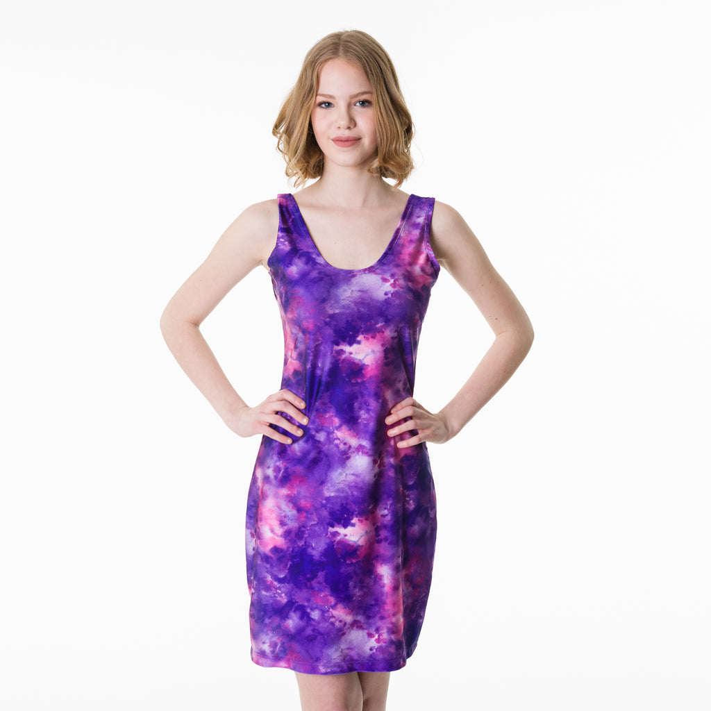 Form fitting purple galaxy sublimation printed polyester nylon bodycon dress for spring and summer