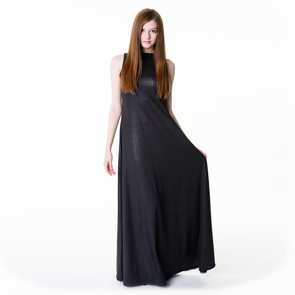 Shimmering black polyester nylon maxi dress, floor length with a high neckline