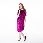 This touchably-soft tee dress is made of crushed velvet. The tee dress is a fun, casual, comfortable dress.