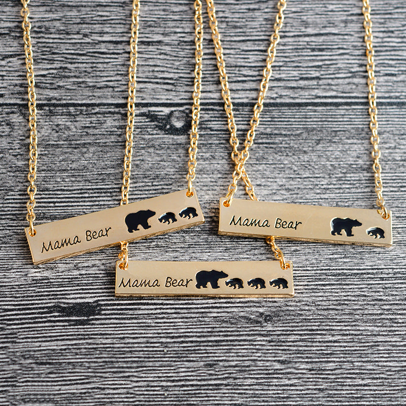necklace sterling silver bar products filled gold necklaces rose or mama bear