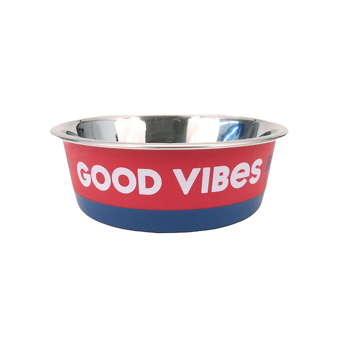 Life is Good. Stainless Pet Bowl, Trees