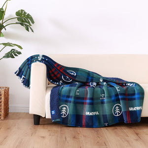 Life is Good. Grateful Plaid Plush Throw Blanket