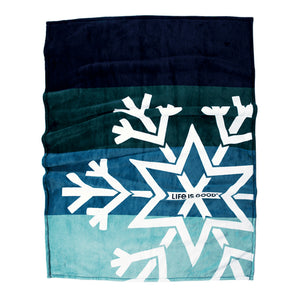 Life is Good. Snowflake Plush Throw Blanket Blue