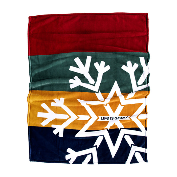 Life is Good. Snowflake Plush Throw Blanket Red/Green