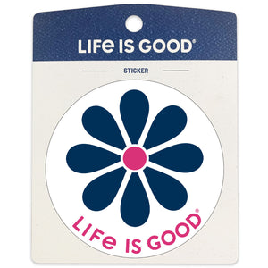 "Life is Good. 4"" Circle Sticker: Simple Daisy"