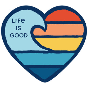 Life is Good. small Die Cut Sticker: Wave Heart