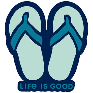 Life is Good. Die Cut Sticker: Flip Flops