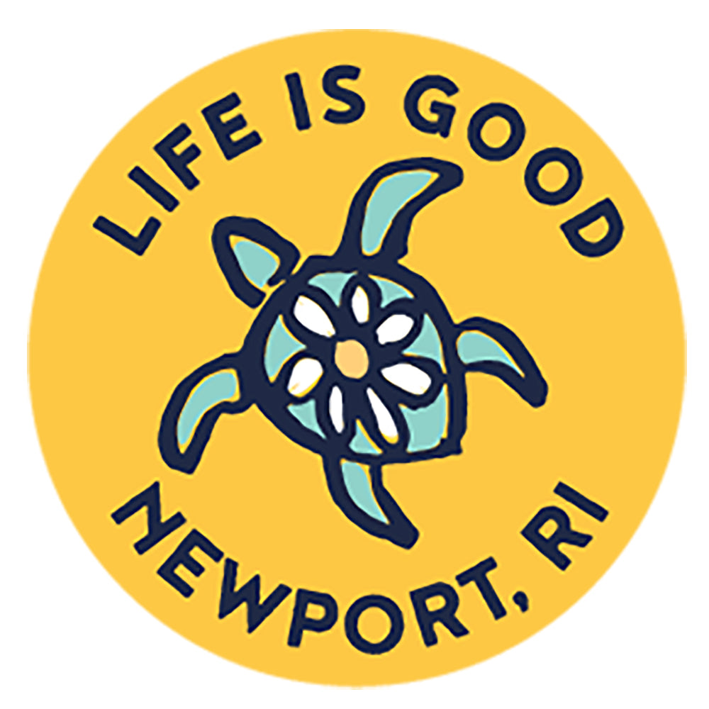 "Life is Good. 4"" Circle Sticker -Sea Turtle Newport - Yellow"