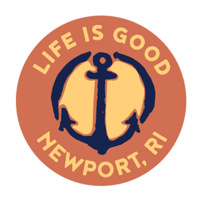 "Life is Good. Newport 4"" Circle Sticker - Anchor - Sandy Orange"