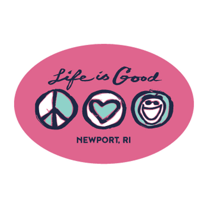 "Life is Good. Newport 4.5"" Oval Sticker - Peace Heart Jake - Pink"