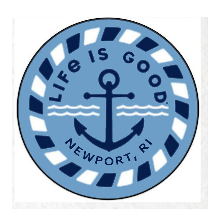 "Life is Good. Newport 4"" Circle Sticker, Anchor-Blue"
