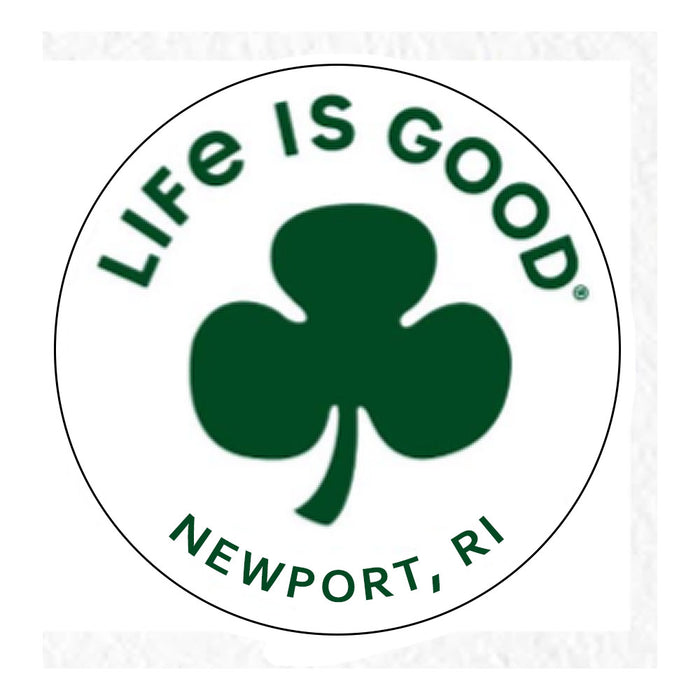 "Life is Good. Newport 4"" Circle Sticker, Clover-White"