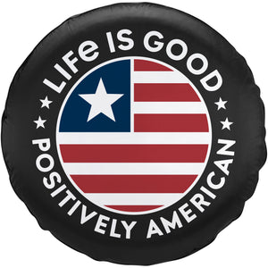 Life Is Good. Tire Cover Positively American Coin, Night Black