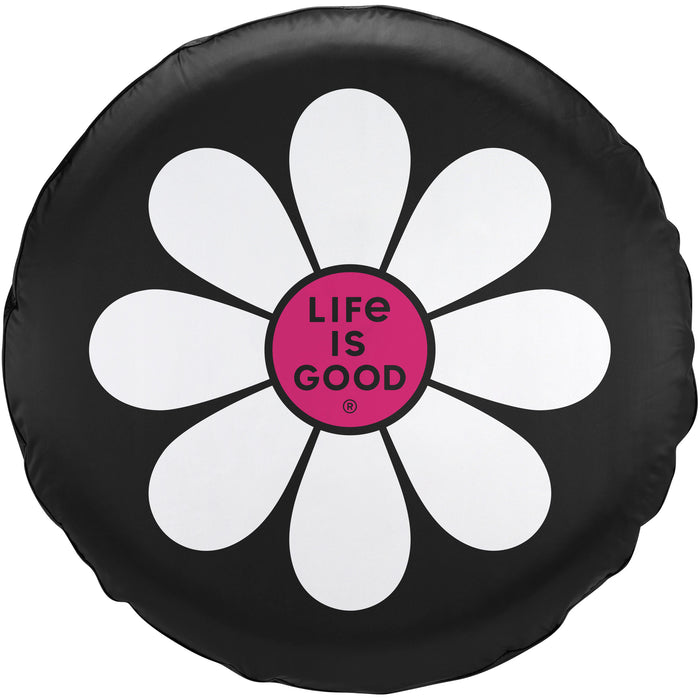 Life Is Good. Tire Cover Simple Daisy, Night Black