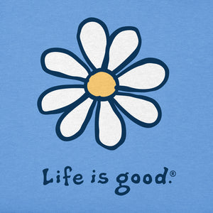 Life is Good. Womens Vintage Crusher Tee: Daisy , Powder Blue