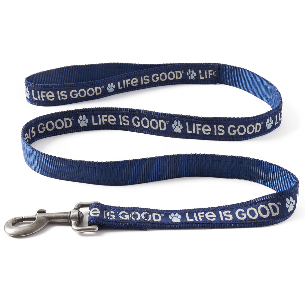 Life is Good. PAW LIG DOG LEASH, Darkest Blue
