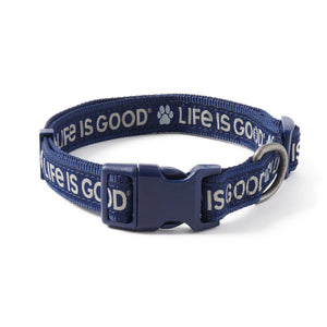 Life is Good. PAW LIG DOG COLLAR, Darkest Blue