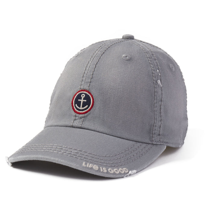 Life is Good. Sunwashed Chill Cap Anchor Coin-Slate Gray