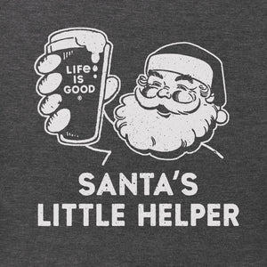 Life is Good. mens crusher tee long sleeve SANTA'S LITTLE HELPER, Heather Night Black