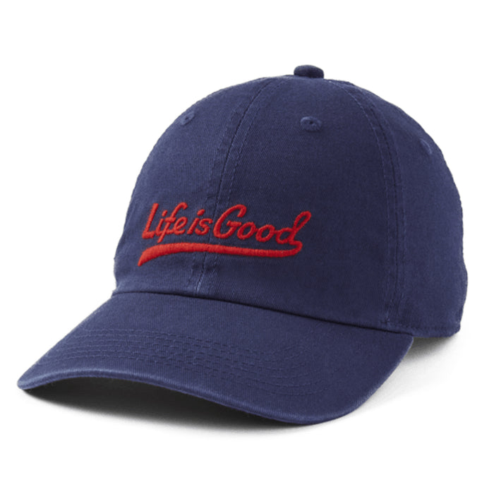 Life Is Good. Kids Chill Cap Lig Ballyard Script, Darkest Blue