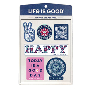 Life is Good Six-Pack Stickers, Happy Pack