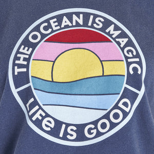 Life Is Good. Womens Boxy Crusher Tee The Ocean Is Magic, Darkest Blue