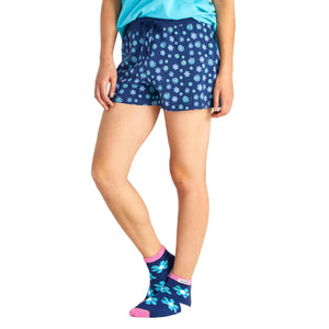 Life Is Good. Womens Sleep Shorts Floral Element Print, Darkest Blue