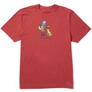 Life Is Good. Mens Crusher Tee Guitar Jake, Faded Red
