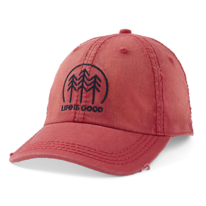 Life is Good. Sunwashed Chill Cap Minimal Forest, Faded Red