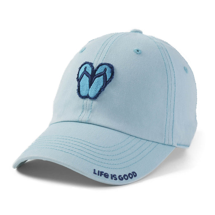 Life is Good. Tattered Chill Cap Flip Flops-Beach Blue