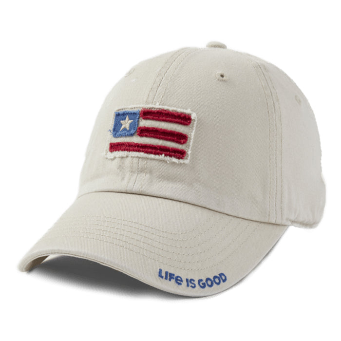 Life is Good. Tattered Chill Cap American Flag-Bone