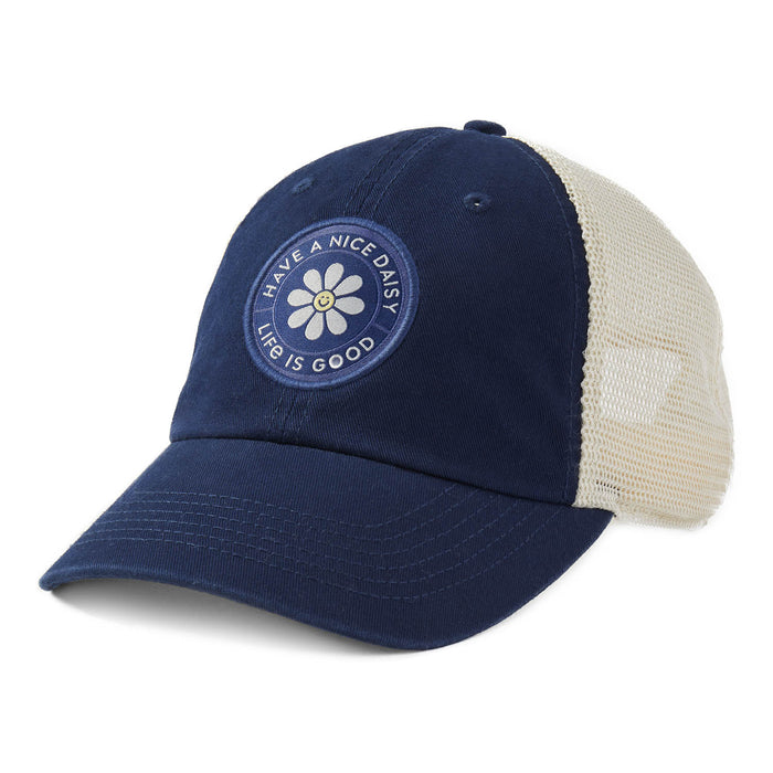 Life is Good. Soft Mesh Back Chill Cap Have A Nice Daisy-Darkest Blue
