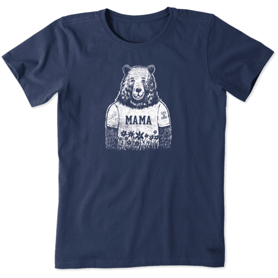 Life is Good. Women's Crusher Tee Mama Bear, Darkest Blue