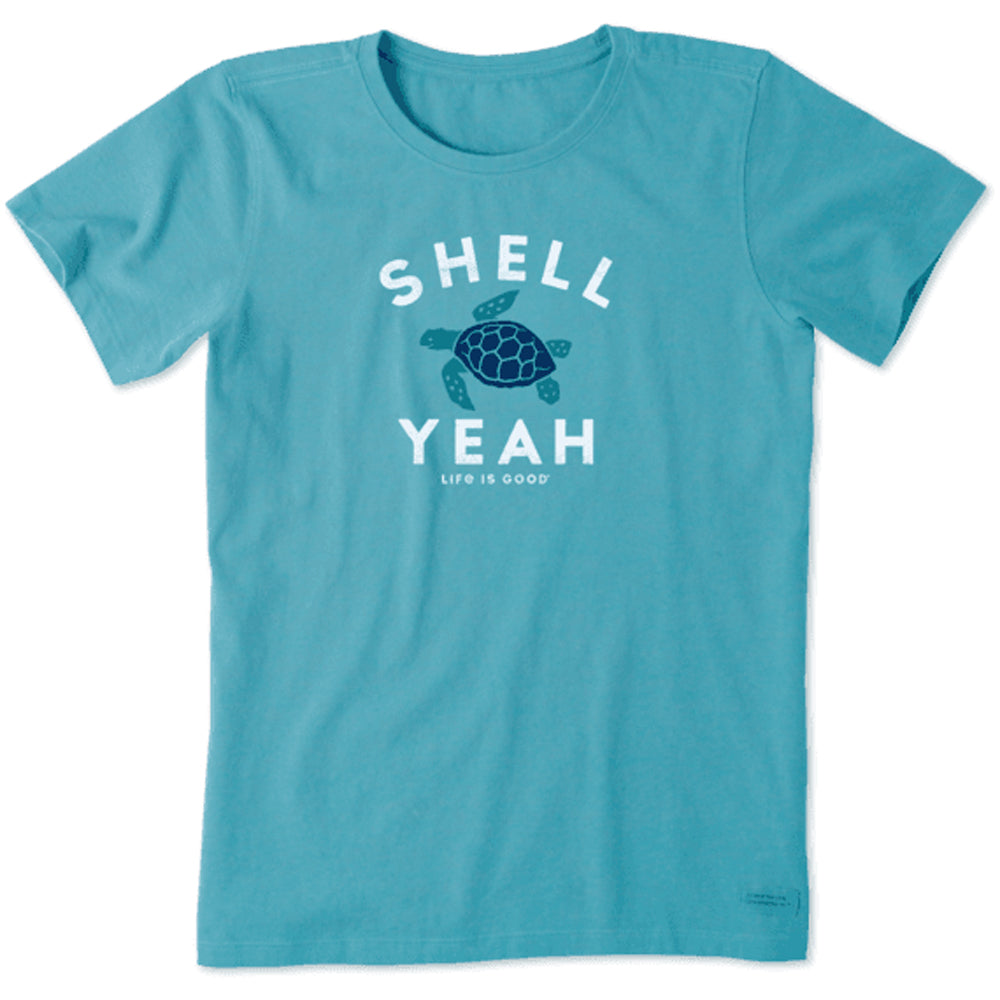 Life Is Good. Womens Crusher Tee Shell Yeah, Coastal Blue