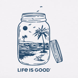 Life Is Good. Womens Crusher Vee Beach In A Jar, Cloud White