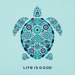 Life Is Good. Womens Crusher Vee Turtle Mosaic, Bermuda Blue