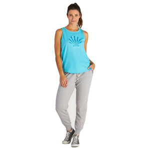 Life Is Good. Womens High-Low Crusher Tank Tribal Shell, Coastal Blue