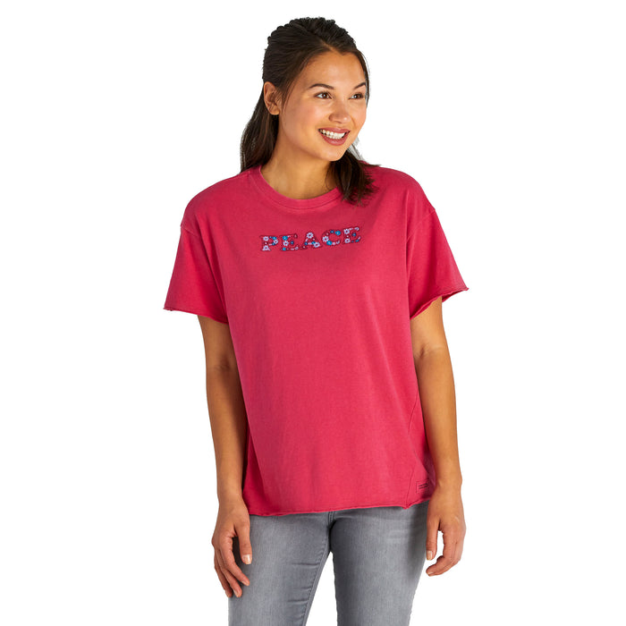 Life Is Good. Womens Boyfriend Crusher Tee Peace, Sangria Red