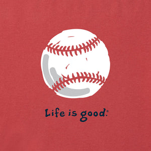 Life Is Good. Mens Crusher Tee Baseball, Faded Red