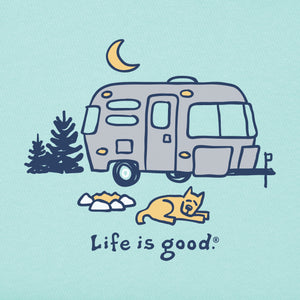 Life Is Good. Womens Crusher Tee Rocket Camper, Bermuda Blue