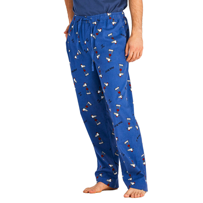 Life Is Good. Mens Sleep Pants Gull Print, Vintage Blue