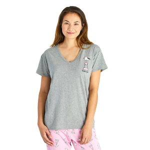Life Is Good. Womens Sleep Top Time Out Gull, Heather Gray