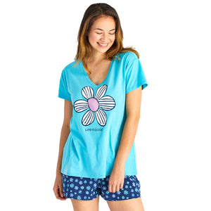Life Is Good. Womens Sleep Top Floral Element, Coastal Blue
