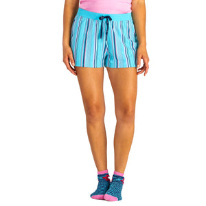 Life Is Good. Womens Sleep Shorts Coastal Blue Stripe, Coastal Blue
