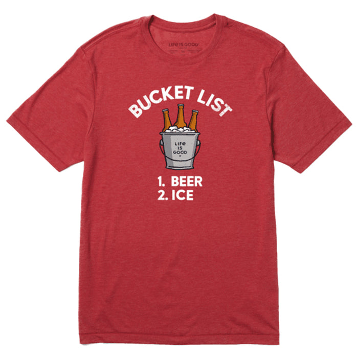 Life Is Good. Mens Cool Tee Bucket List, Faded Red