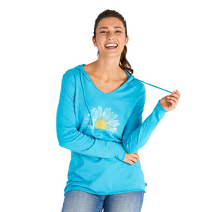 Life Is Good. Womens Hooded Smooth Tee Watercolor Daisy, Coastal Blue