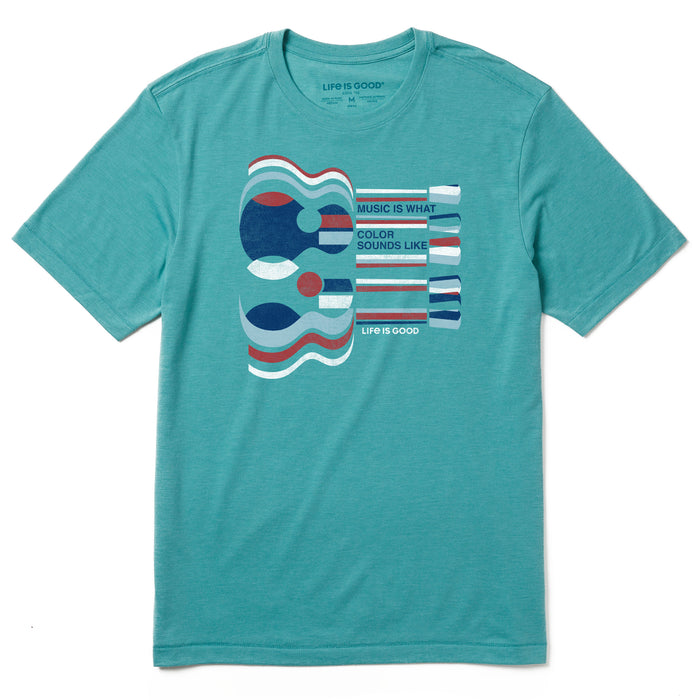 Life Is Good. Mens Cool Tee Music Is What Color, Harbor Blue